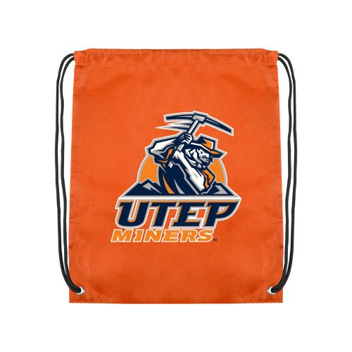 CollegeFanGear UTEP Orange Drawstring Backpack 'Primary Athletic Mark' by CollegeFanGear