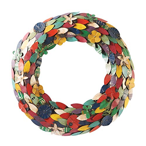 ART & ARTIFACT Recycled Metal Wreath - Multicolor Flower Petals and ()