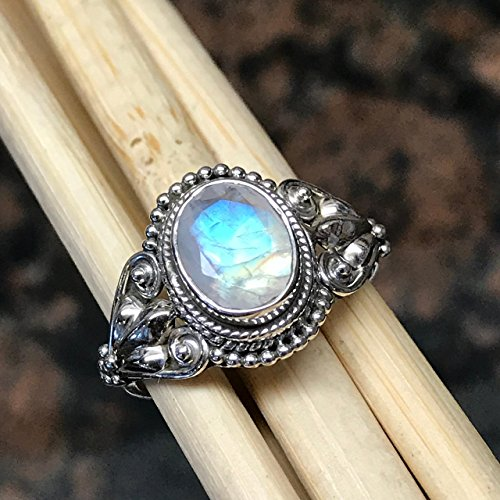 Art Deco Natural Rainbow Moonstone 925 Solid Sterling Silver Filigree Ring sz 6, 8, 9, 10