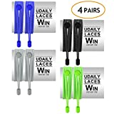 Udaily No Tie Shoelaces (pack of 4), Elastic Shoe Laces for Kids and Adults, Lock Tie Running Shoe Laces for Sneakers, Boots Board Shoes and Casual Shoes (Black+Grey+Blue+Green)