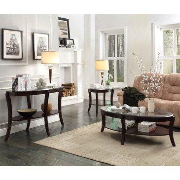 - Homelegance Pierre 3 Piece Coffee Table Set w/ Glass Insert in Rich Espresso