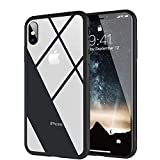 Clear Hybrid iPhone Xs/iPhone X Case by Ztotop, Thin Tempered Glass Back Cover and Soft Silicone Rubber Bumper Frame for iPhone X/iPhone 10 (2017)/ iPhone Xs (2018) - Matte Black Frame