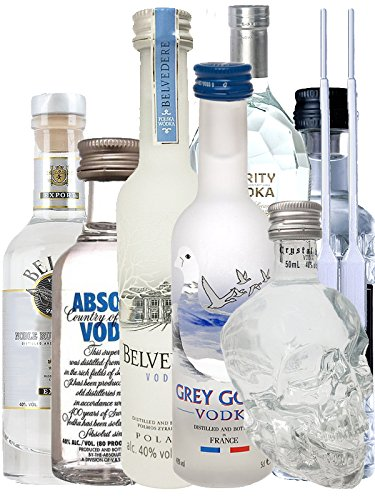 Vodka Probierset jew. 1 x 5cl Beluga Noble, 5cl Belvedere Polen, 4cl Rushkinoff Vodka & Caramel, 5cl Crystal Head, 5cl Purity Vodka, 4cl Three Sixty, 5cl Absolut Blue + 2 Einwegpipetten