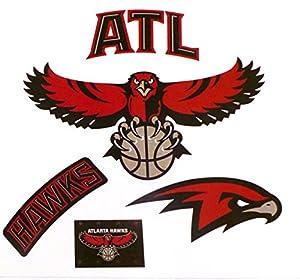 "Atlanta Hawks Mini FATHEAD Team Logo Set 4 Official NBA Vinyl Wall Graphics 4"" INCH EACH"