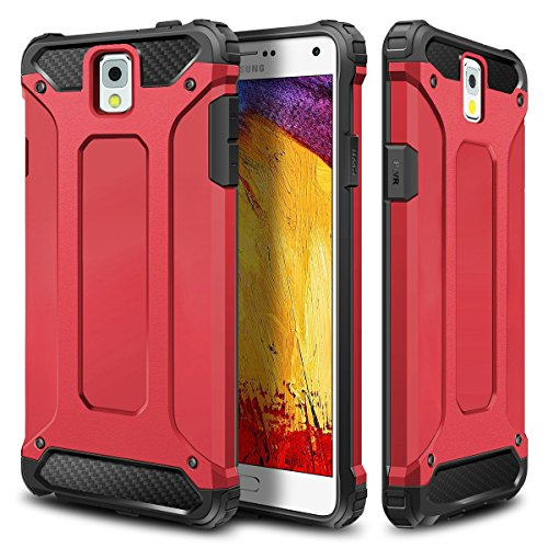 - Galaxy Note 3 Case,Wollony Rugged Hybrid Dual Layer Hard Shell Armor Protective Back Case Shockproof Cover for Galaxy Note 3 Case - Slim Fit - Heavy Duty - Impact Resistant Bumper(Red)