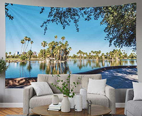 Shorping Blue Tapestries, 80x60Inches Hanging Wall Tapestry for Décor Living Room Dorm Arizona A View of The Lake in Encanto Park which has Been Named by Forbes Magazine as one
