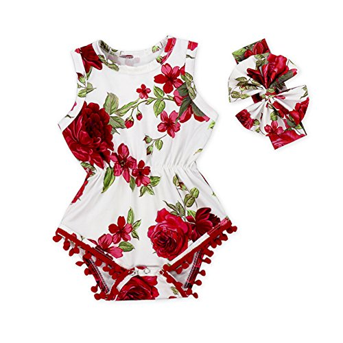 Anbaby Baby Girls Cute Romper Bodysuit Clothes (0-6Months, Red Flower) (Flower Red Shirts)