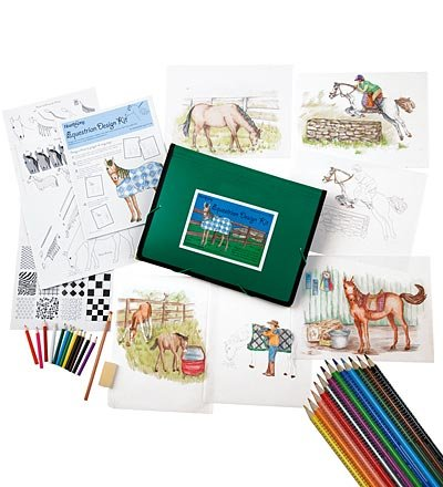 Kid's Equestrian Design Tracing, Drawing, and Coloring Kit with 12 Colored Pencils, Graphic Pencil, Vellum Paper, and Storage Portfolio