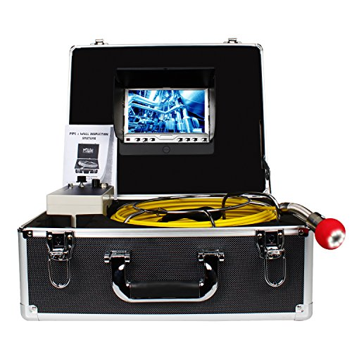 Pipe Pipeline Inspection Camera, Drain sewer Industrial Endoscope HBUDS PIC20 Waterproof IP68 Snake Video System with 7 Inch LCD Monitor 1000TVL Sony CCD Camera with 20M Cable (Sewer Snake Camera)