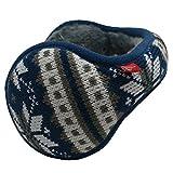 Mraw Unisex Woolen Yarn Big Snowflake Pattern Foldable/Adjustable Wrap around Earmuffs (Blue)