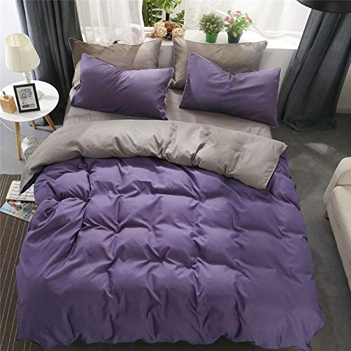 WDDH 4-Piece Comforter Set,Cotton Solid Color Bedding Set:Quilt Cover+Two Pillow Shams+Sheets -Perfect for Teen Bedding,Guest Room Bedding
