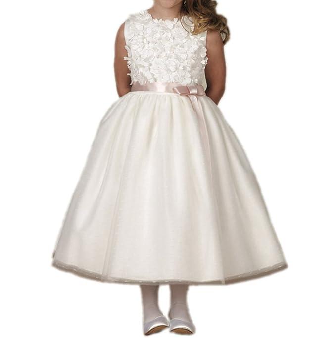 Bordado y tul de novia especial 3d flores flor chica vestido de novia: Amazon.es: Ropa y accesorios