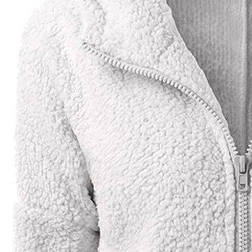 Capucha las Claro KaloryWee Gris lana para de Cremallera Mujeres Chaqueta Invierno Algodón con Mujer Cálida Chaqueta de Abrigo qH1XxFwA
