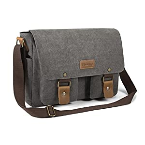 Plambag Basic Canvas Messenger Bag, School Bag Shoulder Crossbody Bag Gray