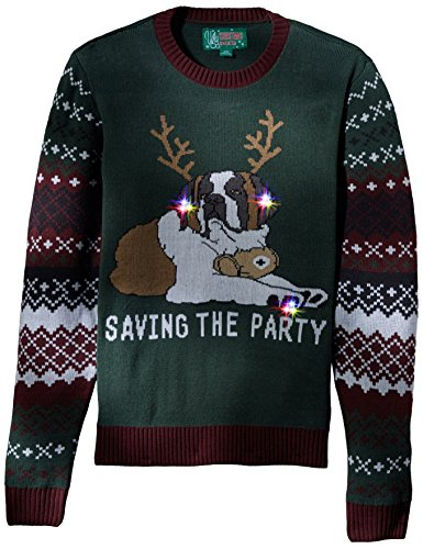 Ugly Christmas Sweater Men's Light-up-Saving The Party Sweater