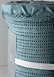 Docofil Organic Cotton Made in Portugal French Cottage Lace Frilled Blanket ~ Teal Color (QUEEN size)