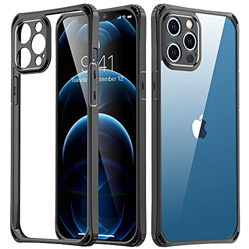 iPhone 12 Pro Max Phone Case - USLAI Shockproof Protective Case Slim Thin Cover, Military Grade Drop Tested, Anti-Scratched, Ultra Slim Soft Case for iPhone 12 Pro Max 6.7 Inch, Black