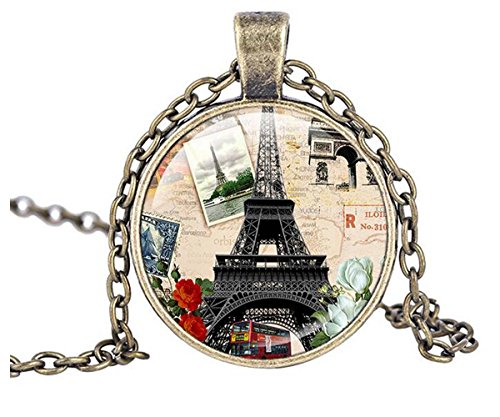 [Luck Wang Woman's Unique Fashion Eiffel Tower In Paris Retro Romantic Time Gemstone Pendant] (Romantic Time Period Costumes)