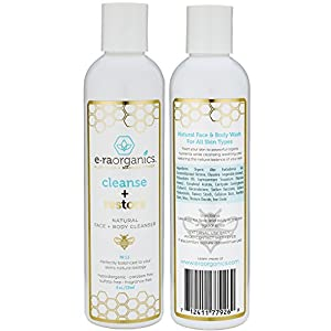 Era Organics Natural Face Wash 8oz Moisturizing Facial Cleanser with Organic Aloe Vera & Manuka Honey for Dry, Oily, Damaged, Sensitive Skin. Ph Balanced, Sulfate Free.