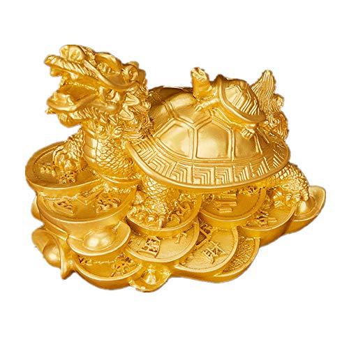 Feng Shui - Tortuga de dragón de Resina con pequeña Estatua de Tortuga para decoración del hogar símbolo de fertilidad...