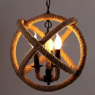 RUXUE Chandeliers Industrial Pendant Light 3 Lights Hemp Rope Ceiling Light Fixtures