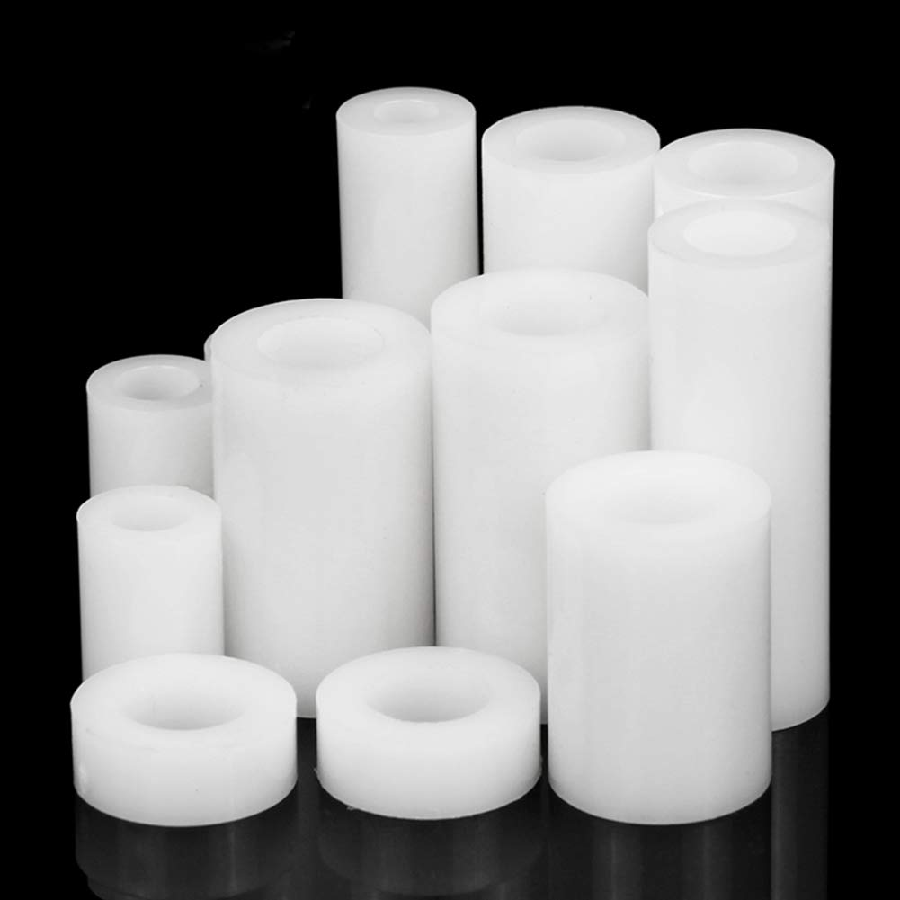 100Pcs White Nylon Plastic Round Spacers Washers Non Threaded for M3 M4 Screws uirend Hardware Tools Round Spacer