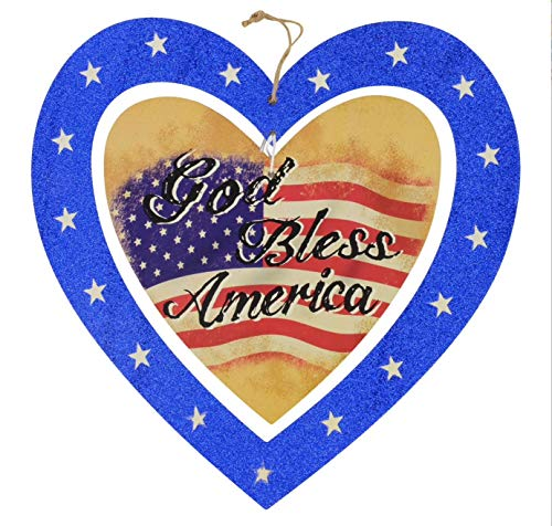 God Bless America Heart Shaped Plaque Hanging Wall Decor American Flag Patriotic Decoration