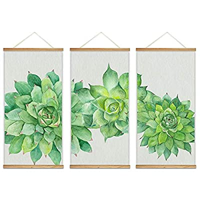 Created Just For You, Majestic Piece of Art, Hanging Poster with Wood Frames Beautiful Green Plants Home Wall x3 Panels