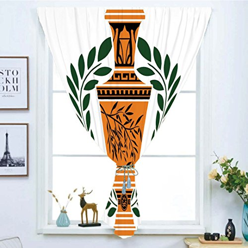 Geometric Greek Vases - iPrint Blackout Window Curtain,Free Punching Magic Stickers Curtain,Toga Party,Old Antique Greek Vase with Olive Branch Motif and Laurel Wreath,Hunter Green Orange Black,Paste Style,for Living Room