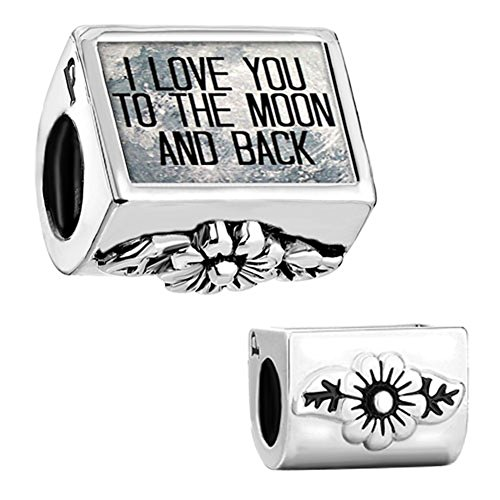 CharmSStory I Love You To The Moon and Back Flower Charms Beadss For Bracelets