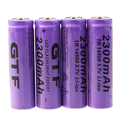 Hossen GTF 4pcs 3.7V 14500 2300mAh Li-ion Rechargeable Battery For LED Flashlight Torch