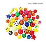 Educational Stress Relieve Ball Toy Assortment /Assorted Squeeze Foam Balls - Fidget Toys Gifts for Kids' Shape and Color Training, 24pcs in 1.57'-3.15' Random Color/ Shape