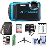 Fujifilm FinePix XP120 16.4MP Digital Camera, 5x Optical Zoom Sky Blue - Bundle 32GB SDHC Card, Camera Case, Spare Battery, Desktop Tripod, Memory Wallet, Cleaning Kit, Card Reader, Software Pack
