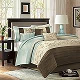 Madison Park Serene 7 Piece Comforter Set, King, Blue