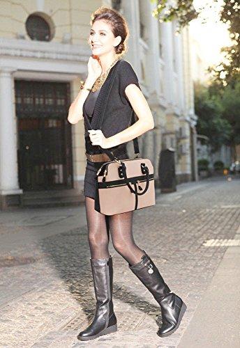 LeahWard® Damen Mode Essener Berühmtheit Tragetasche Kunstleder Handtaschen nackt/Rosa ytbsv