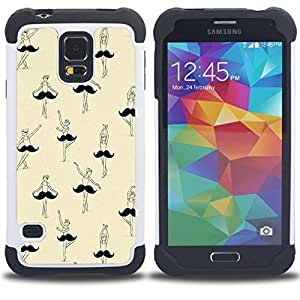 - ballet ballerina moustache funny art - - Doble capa caja de la armadura Defender FOR Samsung Galaxy S5 I9600 G9009 G9008V RetroCandy