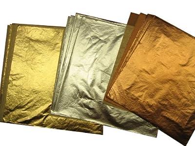 Imitation Gold(100) Imitation Silver(100) Genuine Copper(100) Total EN: 300 Leaf Sheets 14 X 14 Cm