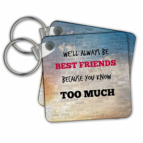 "3dRose Best Friends. Friendship. Saying. Key Chains, 2.25"" x 2.25"", Set of 2 (kc_211228_1)"