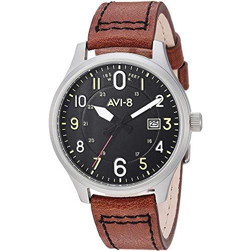 AVI-8 Men's Hawker Hurricane Stainless Steel Japanese-Quartz Aviator Watch with Leather Strap, Brown, 19 (Model: AV-4053-0B)
