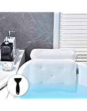 OMYSTYLE Soft 5D Mesh Bath Pillow for Tub, Bathtub Pillows with 7 Large Suction Cups, Spa Bath Pillow for Neck, Head, Shoulder and Back Support - Non-Slip, Supportive, Quick Dry