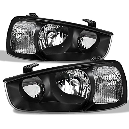 Fits Elantra Black Headlights Head Lamps Driver Left + Passenger Right Side Replacement Pair Set ()
