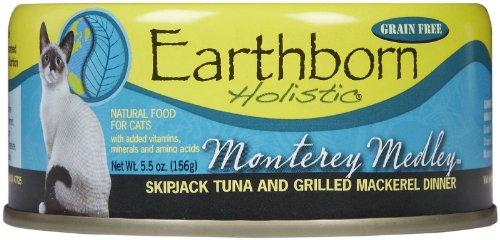 Monterey Medley Skipjack Tuna (Earthborn Holistic Monterey Medley Skipjack Tuna and Grilled Mackerel Dinner Wet Cat Food, 5.5-Ounce Can,)