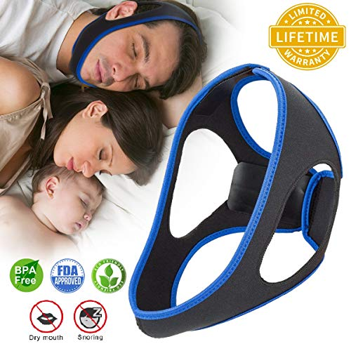 Anti Snoring Chin Strap Ajustable Stop Snoring Solution for Men and Women, Anti Snoring Devices Snore Stopper Chin Straps Sleep AIDS for Snoring Sleeping Mouth ()
