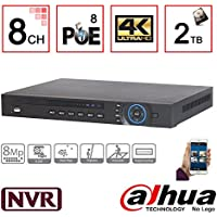 NVR4208-8P-4K 8CH 1U 8PoE 4K & H.265 Lite Network Video Recorder with 2TB Hard Drive Installed, IP NVR DVR XVR Surveillance System