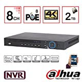 Dahua 8CH 1U 8Poe 4K & H.265 Nvr4208-8P-4K Lite Network Video Recorder with 2TB Hard Drive Installed, IP NVR Dvr Xvr Surveillance System