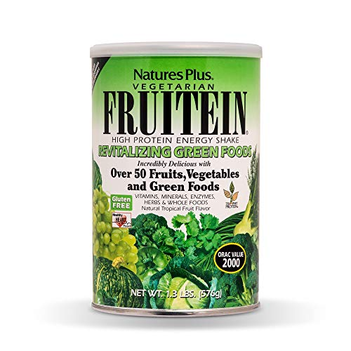 Natures Plus Fruitein Revitalizing Green Foods Shake - Tropical Fruit Flavor - 1.3 lbs, Vegetarian Protein Powder - Plant Based Meal Replacement - Gluten Free - 16 Servings