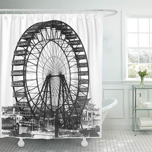 (Semtomn Shower Curtain Retro Vintage Ferris Wheel at Chicago World Fair 72