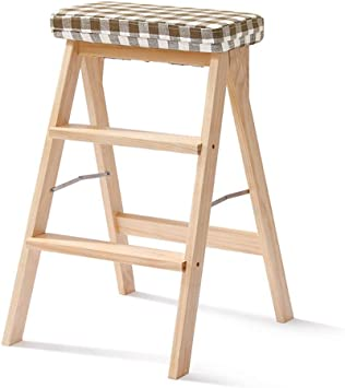LADDER Escalera Taburete Taburetes Taburetes de Madera Maciza Plegable para el Hogar Paso 3 Pasos de Cocina Multifunción Portátil Taburete Alto Banco de Madera Escalera de Muebles,Color de Madera,Est: Amazon.es: Bricolaje y