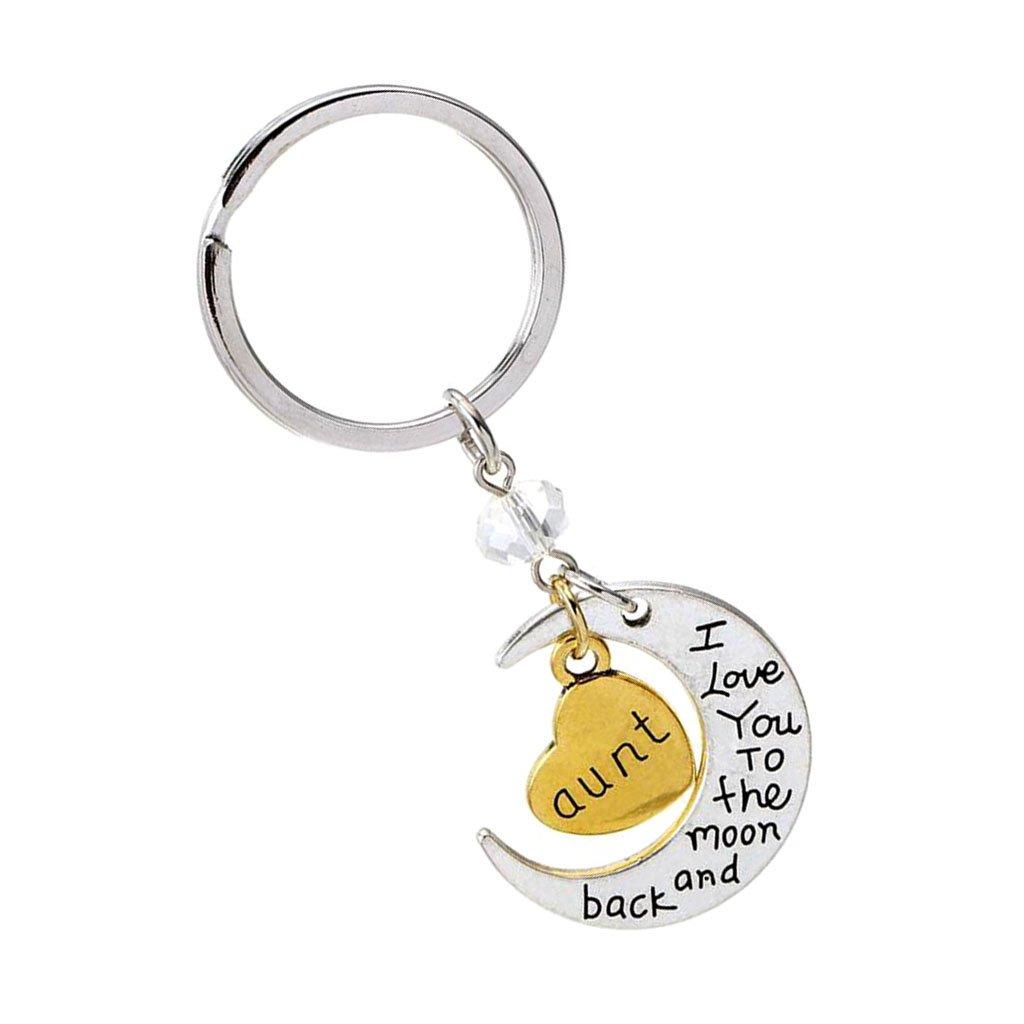 Family Name Gold Heart Charm Keychain Keyring Silver Split Ring Forever Love Gift - Aunt MagiDeal STK0157002213
