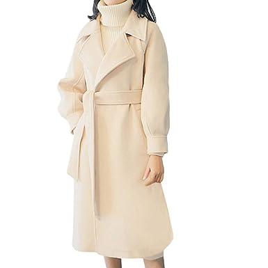 Longra Damen Klassischer Mantel Trenchcoat mit Gürtel Lang Wintermantel  Wollmantel Revers Wärmemantel Elegant Winterjacke Wolljacke Coat c2432306bc